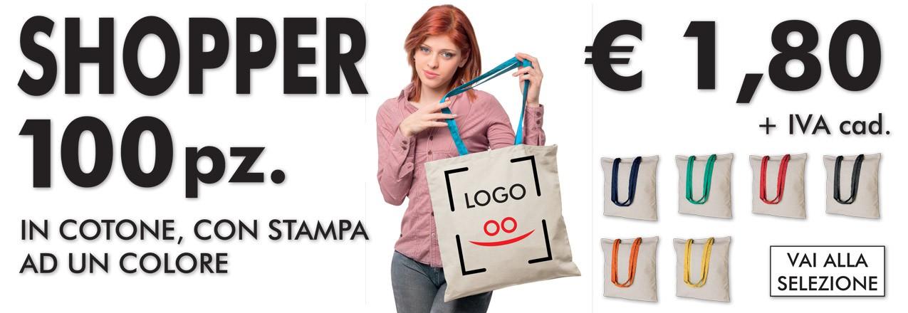 offerta shopper cotone manici colorati