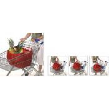 Borsa shopping con ganci in plastica per fissaggio al carrello spesa corredata di custodia in nylon.