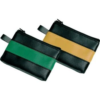 Borsellino p.chiavi in pvc nero con bandina colorata verde