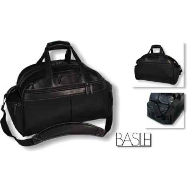 """Borsone  da viaggio """"Basile"""" in 1680D nylon nero finiture in pelle.  Scatola di confezione cartoncino silver."""