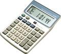 Calcolatrice  tronic 10 cifre con funzione orologio datario timer sveglia combinazione cromatica nei toni bianco azzurro grigio e silver
