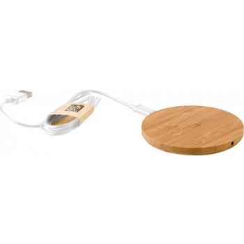 Caricabatterie wireless, in bamboo