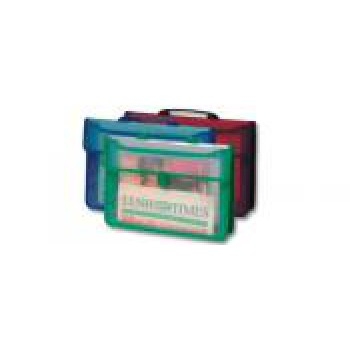 Cartella pvc trasparente colore rosso/nero 3 soffietti f.to 38.5x26.5x7